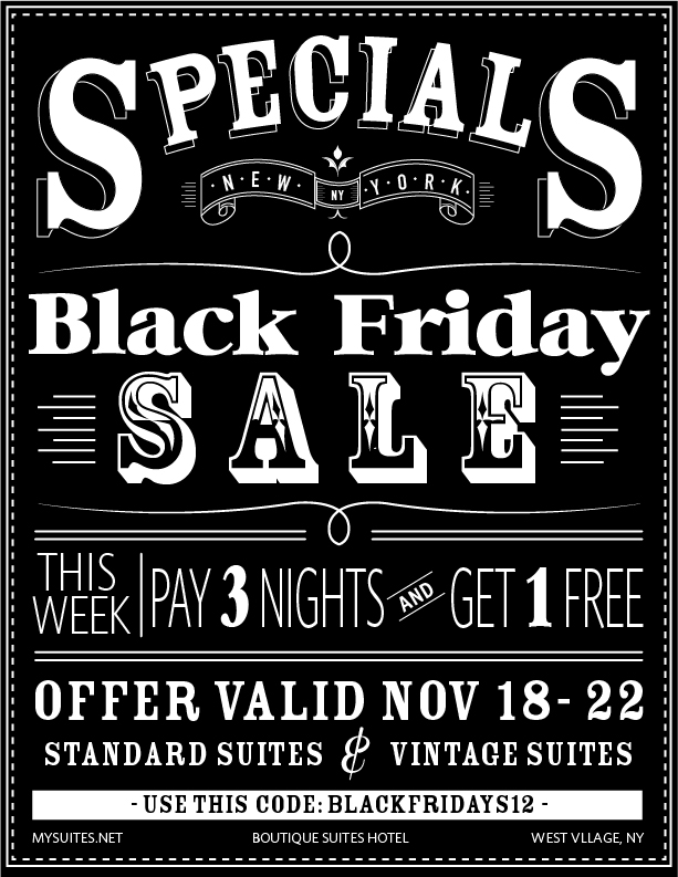 BLACK FRIDAY SALE, BOUTIQUE HOTELS NYC
